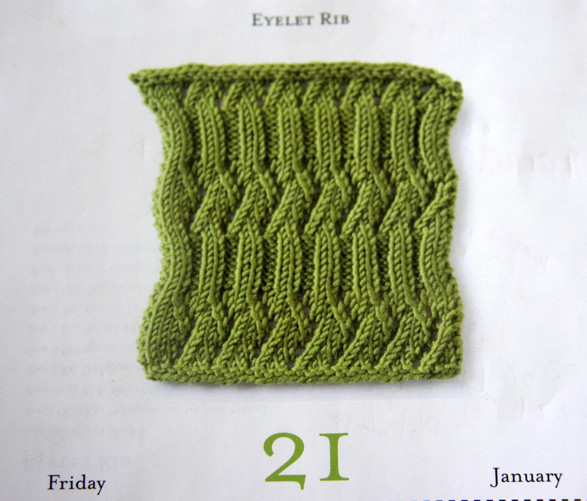 Vogue Knitting Stitch A Day Calendar : Eyelet Rib Cpeezers