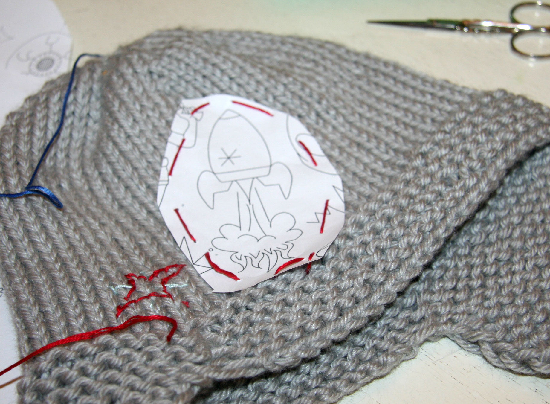 embroidery on knitting Cpeezers at Home
